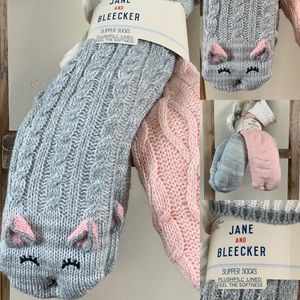 Jane and Bleecker Socks Soft Faux Teddy Fur Cat +1